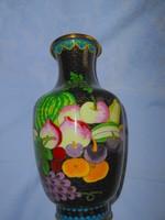 20 cm Rekesz zománc (Cloissoné)  váza RITKA gyümölcs minta