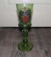 Régi festett talpas szecessziós pohár
