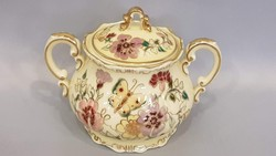 Zsolnay kézi festésű pillangós kávés készlethez cukor tartó
