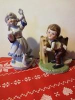 2 darab, bájos porcelánfigura
