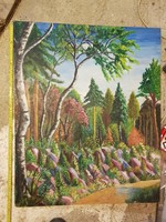 Kb.70x88-as, színes erdőkép, olaj, préselt lemezre