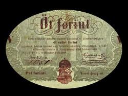 5 EZÜST FORINT - KOSSUTH BANKÓ - 1848 Buda-Pest történelmi bankjegy