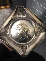 Bécsi Szecessziós -art nouveau ezüstözött fém tál