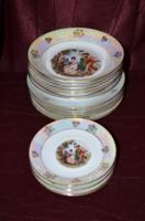 Csodaszép lüszteres, jelenetes Kahla tányér készlet  3 x 6 db