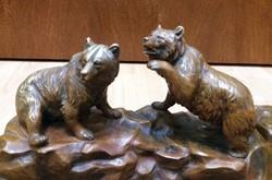 Antik Bronz Tintatartó Kalamáris Medvékkel