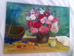 Czakó (?) Dezső olaj vászon festmény csendélet 38 * 27.5 cm