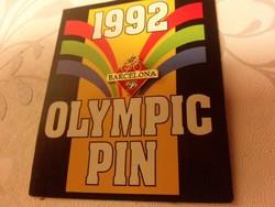 Barcelona 92 olimpiai kitűző jelvény, bontatlan