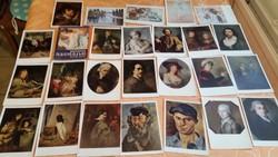 0T154 Régi 25 darabos, postatiszta festményekről képeslap mappa eladó