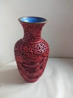 Kínai cinóber faragott vöröslakk váza 16,5 cm