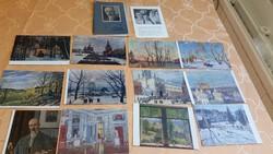 0T154 Régi 15 darabos,festményekről, postatiszta Orosz képeslap mappa eladó