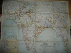 Antik nagy méretű INDIA  térkép 1946 - NG Washington  Mérete: 76*63 cm