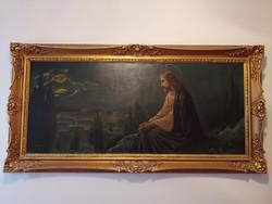 Jézus az olajfák alatt olajfestmény 139 x 70 cm