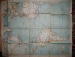Antik nagy méretű Atlanti Óceán  térkép 1939 - NG Washington  Mérete: 80*63 cm