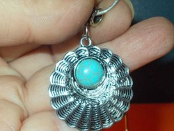 Amulett Türkiz köves Tibeti Ezüst kézműves uniszex Nyaklánc