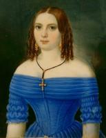 Fiatal lány kék ruhában miniatür portré