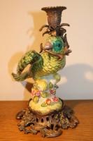 Gyertyatartó pár - Papagájok porcelán és bronz