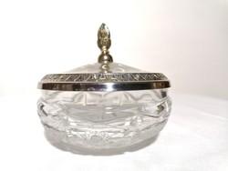 Kristály bonbonier fém fedővel 12 cm (84)