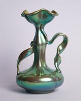 Zsolnay eozin fodros fülű szalag váza