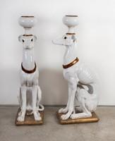 Paolo Marioni mázas terrakotta kutya pár - virágtartó