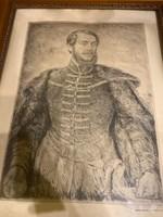 Kossuth Lajost ábrázoló rézkarc  eredeti állapotában eladó!Ara:25.000.-