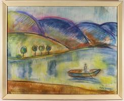Egry József (1883-1951) Keretezett Pasztell Festmény 1FT!!!