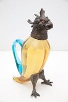 Dekantáló, 19.-20. Századi francia figurális bronz és üveg dekantáló / palack 25 cm