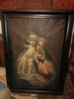 Antik, Szűz Mária a kisdeddel, 1800 as évek. Hatalmas .