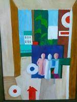 Nagyméretű absztrakt festmény, gyönyörű, szines darab, lakberendezéshez