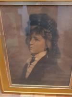 Stetka Gyula eredeti festménye, Nő portré, 1870-ből.