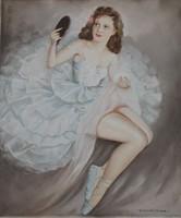 Temesvári Thiesz jelzéssel: Tükörbe néző balerina,1942