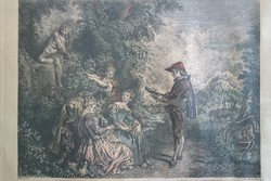 After Jean-Antoine Watteau engraved by Charles Dupuis Lecon D'Amour