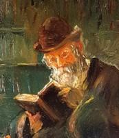 Olvasó Rabbi jelzett festmény Szántó