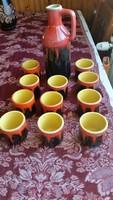 Tófej kerámia boros készlet eladó!Kancsó +11 db  pohár, italos készlet (Magyarszombatfa-Tófej)
