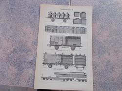 Litografie Meyers,1904, Mozdony,eisenbahnwagen