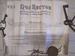 Viaszpecsétes rektori diploma 1947