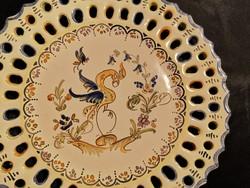 Gyönyörű, kézzel festett Martres Tolosane fajansz tányér