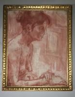 Schönberger Armand.: Vörös kréta rajz ,hölgy