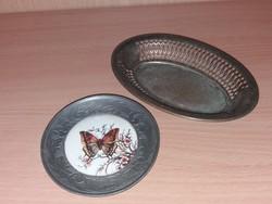 Antik Porcelánbetétes Tálka És egy Kis Kináló Egyben