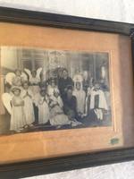 Antik fotó régi gyerek angyal Bethelemi  karácsonyi fénykép - kép - keretben - Szabadi fényképész