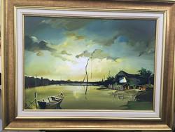 Fassel l'ousa Ferenc Vízparton festmény 50x70 cm