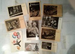 10 db RETRO régi posta tiszta újévi képeslap