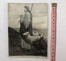 Antik Jézus a jó pásztor vallási szentkép, kegykép, imakép imakönyvbe /KL020/