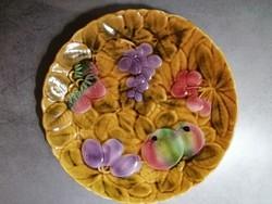 Sarreguemines majolika gyümölcsös kínálótál 30 cm