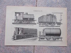 Litografie Meyers,1904, Gepek Lokomotiv