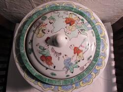 Famille Verte porcelán tárolo edény