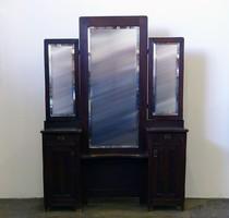0F996 Régi fésülködő pipere asztal és tükör
