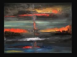Lángoló virradat-olajfestmény