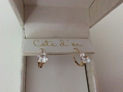 Új kis finom köves 14 K arany fülbevaló dobozában posta ingyen