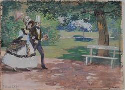 Faragó Géza (1877-1928): Fiatal pár a parkban, akvarell