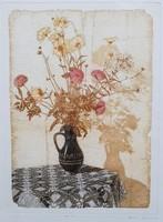 Gaal Domokos - Csipkés csendélet 40 x 30 cm színezett rézkarc